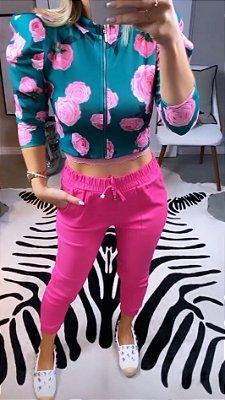 Calça Jogger Bengaline Basic Pink | Petit Rosè