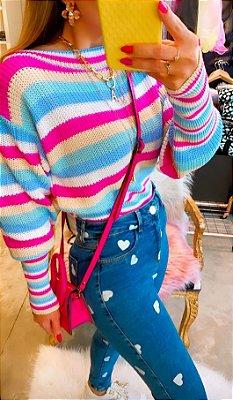 Blusa de Tricot Color Listras | Manga Bufante - Petit Rosè