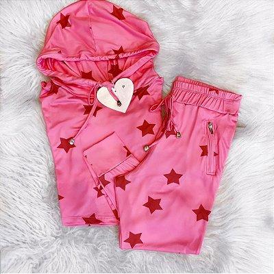 Conjunto de Malha Suede Star Pink | Petit Rosè