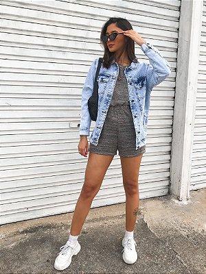 Macaquinho Kylie Cinza | Malha Tricot