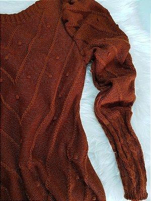Blusa de Tricot Pompom | Cor: Ferrugem (Marrom)