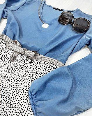 Blusa Azul com Manga Bufante