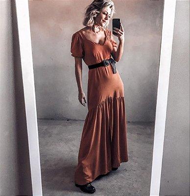 Vestido Longo Preto com Bogo e Fenda Frontal