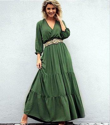 Vestido Longo Sofia Manga Bufante | Preto, Verde e Salmão