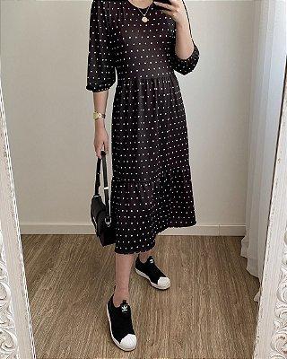 Vestido Midi Melody Preto com Poá