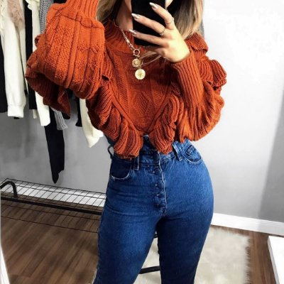 Blusa de Tricot Babados | Camel