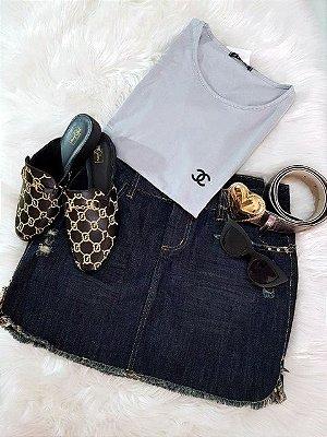 Saia Jeans mais Escuro Desfiada