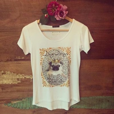 T-shirt Dog Days Are So [ Pug ] Coroa | Pérolas - PETIT ROSÈ {{ Cor: Branca }}