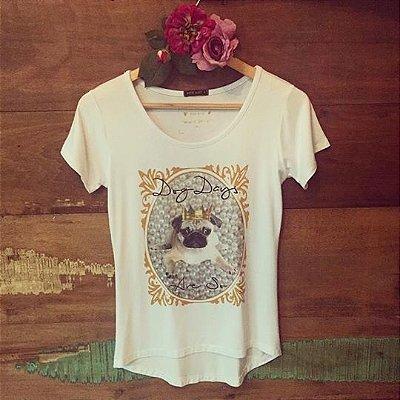 T-shirt Dog Days Are So [ Pug ] Coroa | Pérolas - PETIT ROSÈ {{ Cor: Branca }}