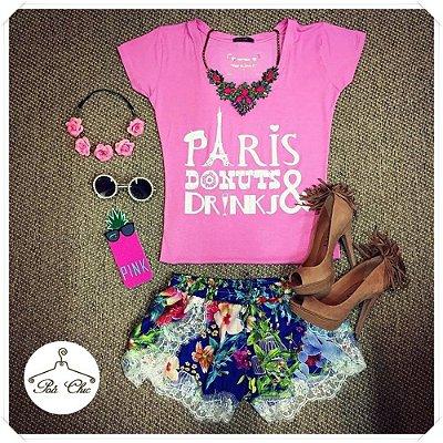 T-shirt Paris, Donuts & Drinks [ Rosa ]