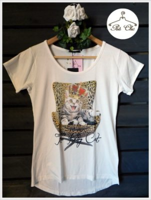 T-shirt The King Cat [ Off White ]