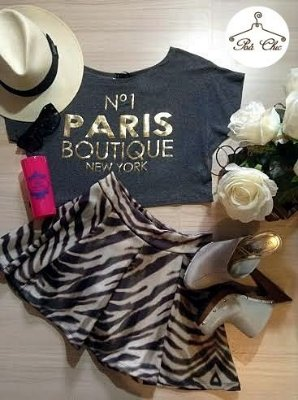 Cropped Paris Boutique New York [ Cinza ]