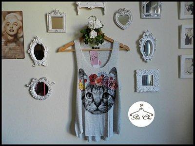 Regata Cat { Coroa de Flores } Cinza Mescla