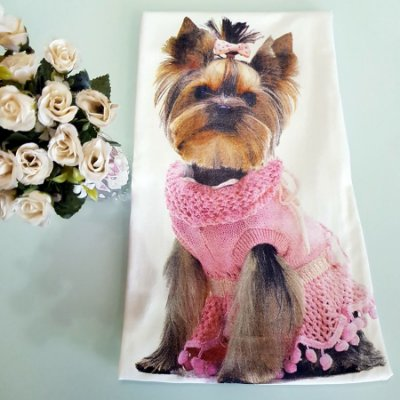 Regata Yorkie { Yorkshire } com Laço - Off White