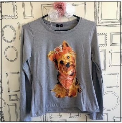 T-shirt  Yorkie (Yorkshire) - Cinza Mescla