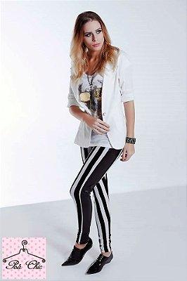 Legging Stripes [ Listras ]  Preto e Branco - com detalhe lateral em preto || Petit Rosè