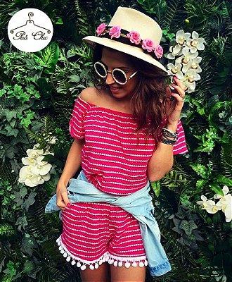 Macaquinho Pink com POM POM || Petit Rosè