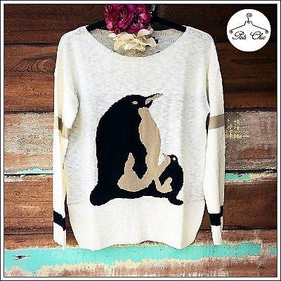 Tricot Pinguim || Off White – Tamanho Único