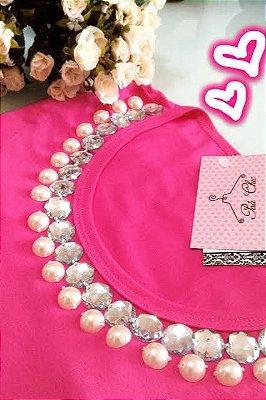T-shirt Rosa [ Pink ] Bordada