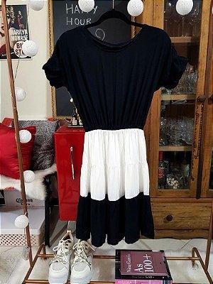 Vestido Preto e Branco e Verde e Preto | Bicolor