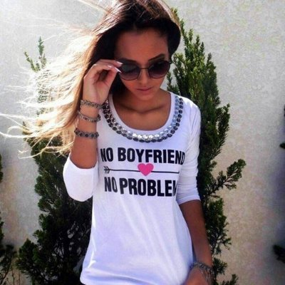 T-shirt No Boyfriend No Problems || Bordada [ Branca ] Manga Longa