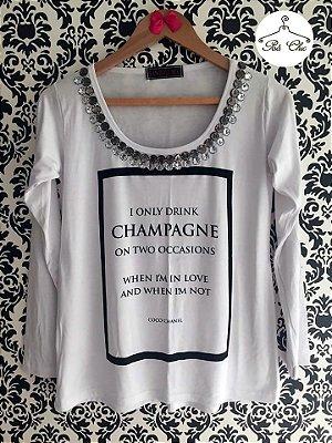 T-shirt I Only Drink Champagne || Bordada [ Branca ] Manga Longa