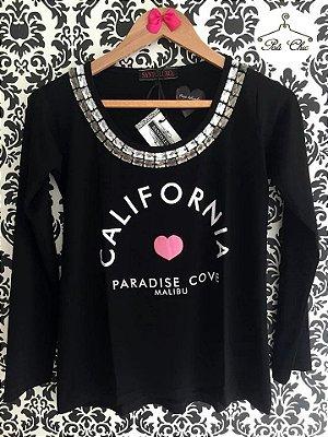 T-shirt  Califórnia [ Preta ] Bordada || Manga Longa