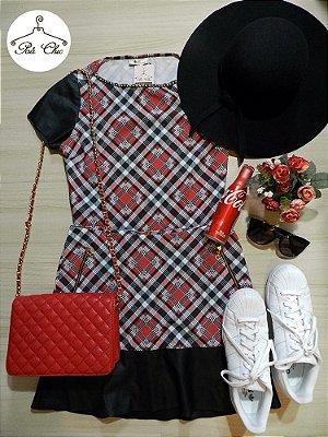 Conjunto: Saia + Blusa Xadrez [ Vermelho ] Detalhes em couro e strass