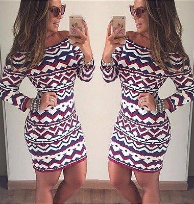 Vestido de Tricot Miami Geométrico || Cores: Terroso + Off White e Preto + Roxo + Off White { Fio Modal }