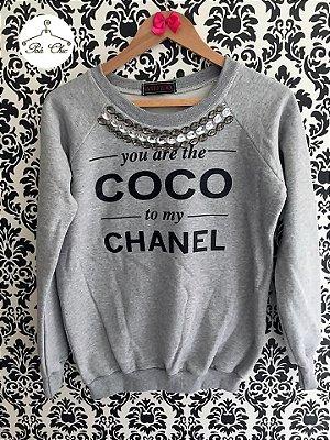 Moletom Coco Chanel || Bordado [ Cinza ]