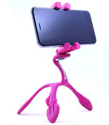 GekkoPod para Celular, GoPro e Câmera - Rosa com o controle bluetooth UNIVERSAL + SELFIE RING LIGHT DE BRINDE