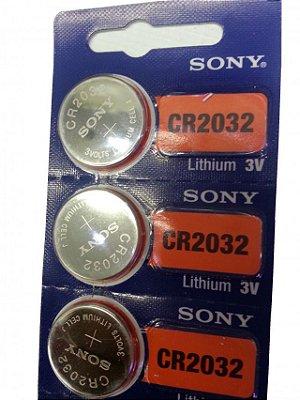 3 Baterias CR2032 (PAGUE 2, LEVE 3) Sony 3 Volts para o controle Bluetooth