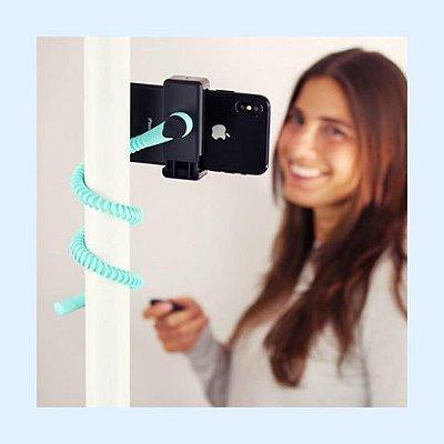 GEKKOSTICK para celular - AZUL CLARO com controle Bluetooth universal + SELFIE LUZ DE BRINDE