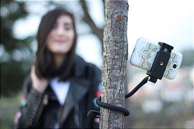 GEKKOSTICK PARA CELULAR  E GOPRO - PRETO COM CONTROLE BLUETOOTH UNIVERSAL+ selfie luz de brinde