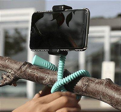GEKKOSTICK PARA CELULAR E GOPRO  - AZUL CLARO COM CONTROLE BLUETOOTH UNIVERSAL+selfie luz de brinde