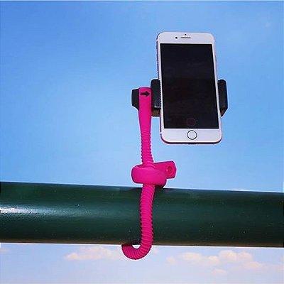 GEKKOSTICK PARA CELULAR E GOPRO  - ROSA COM CONTROLE BLUETOOTH UNIVERSAL+ selfie luz de brinde