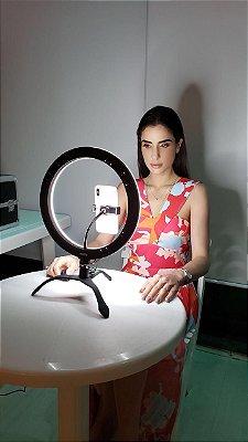 SUPER Gekko Luz Selfie Profissional 12 Polegadas PRETO  + Power bank Controle Bluetooth Universal de Brinde