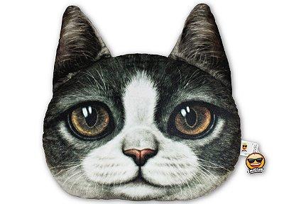 Almofada Pet Gato - Cinza e branco