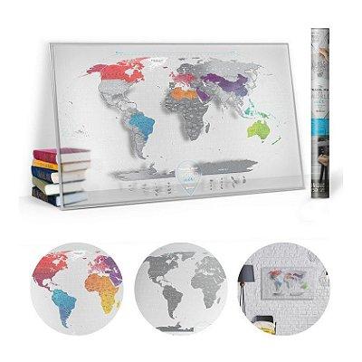 Pôster Plástico Mapa Mundi Raspadinha - Transparente
