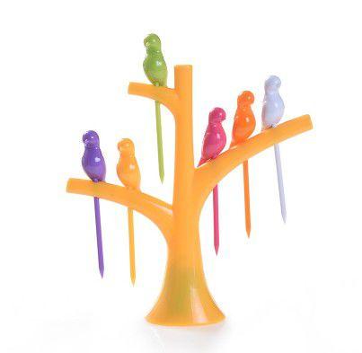 Pegador de Petiscos Passaros - Árvore Amarela