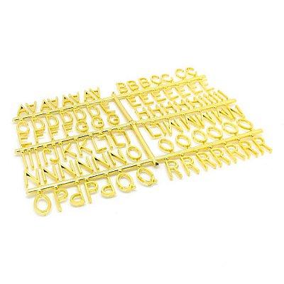 184 Letras e Números para Mural Letreiro Letter Board - Dourado