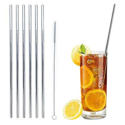 Canudo Longo Ecológico Metal Inox 26,5cm - 6 Unidades + 1 Escova de Limpeza