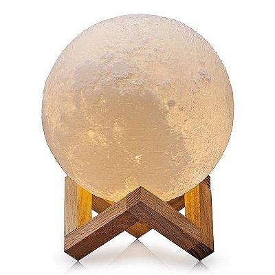 Luminária Lua Cheia 3D 15cm - Base Madeira - 5 Cores de Iluminação