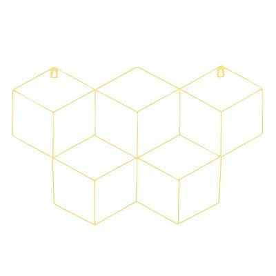 Memory Board Cubo Quadro de Fotos Amarelo - 45cm x 63cm + 3 Mini Prendedores