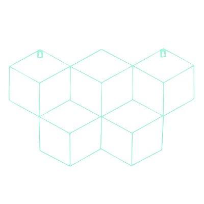 Memory Board Cubo Quadro de Fotos Verde Água - 45cm x 63cm + 3 Mini Prendedores