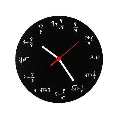 Relógio de Parede Fórmulas Matemáticas