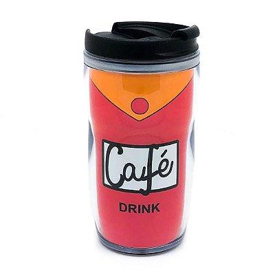 o Copo Café Duff tem capacidade para 350ml e possuí tampa com saída para bebida.