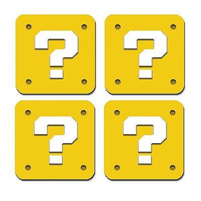 Porta Copos Cubo de Interrogação - Mario Bros - 4 uni