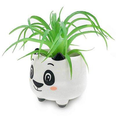 Vaso Cachepô em Cerâmica Panda - Branco Pequeno MD1