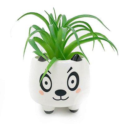Vaso Cachepô em Cerâmica Panda - Branco Pequeno MD2